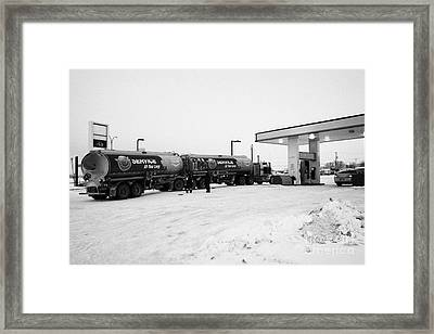 co-op double tanker fuel delivery to gas station in rural Kamsack Saskatchewan Canada Framed Print by Joe Fox
