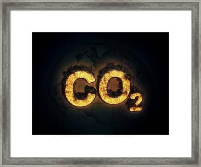 Co2 Symbol Burning Framed Print