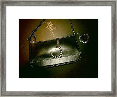 Coach Bag With Space Love Bling Framed Print by Robert Cunningham