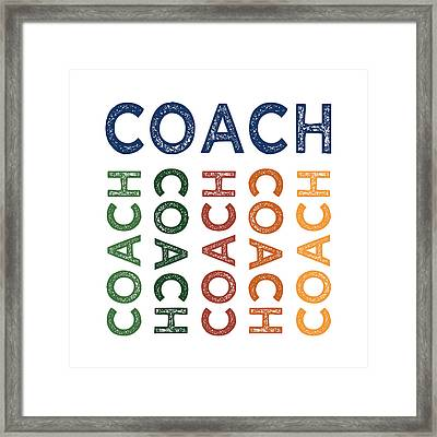 Coach Cute Colorful Framed Print by Flo Karp