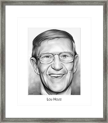 Coach Lou Holtz Framed Print by Greg Joens