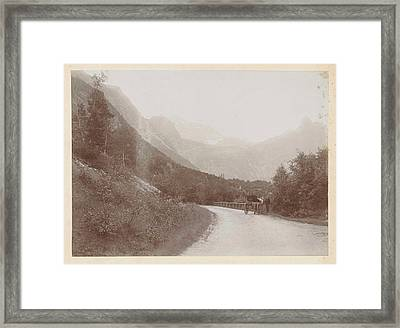 Coach On A Road In A Mountain Landscape Norway Framed Print