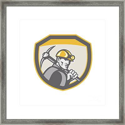 Coal Miner Hardhat Holding Pick Axe Shield Retro Framed Print by Aloysius Patrimonio