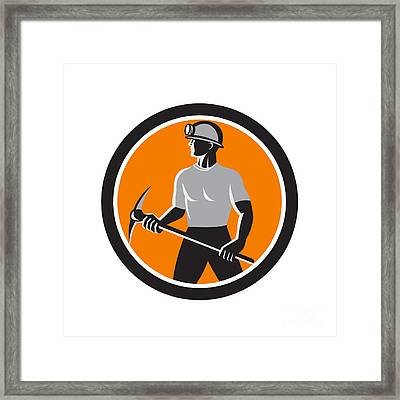 Coal Miner Holding Pick Axe Side Circle Retro Framed Print by Aloysius Patrimonio