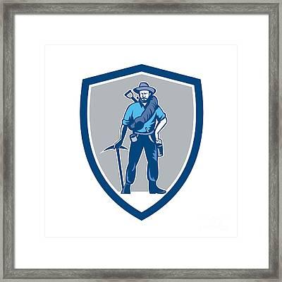 Coal Miner Pick Axe Frontpack Shield Retro Framed Print by Aloysius Patrimonio