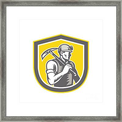 Coal Miner Pick Axe Shield Retro Framed Print by Aloysius Patrimonio