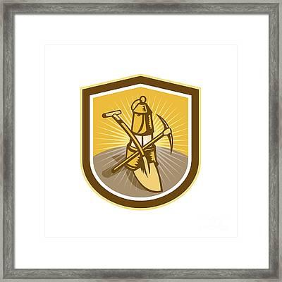 Coal Miner Pick Axe Shovel Lamp Shield Retro Framed Print by Aloysius Patrimonio