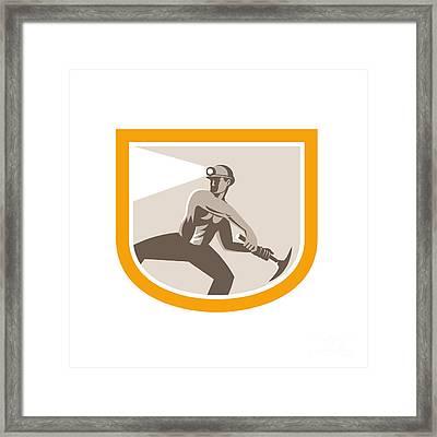 Coal Miner Wielding Pick Axe Shield Retro Framed Print by Aloysius Patrimonio