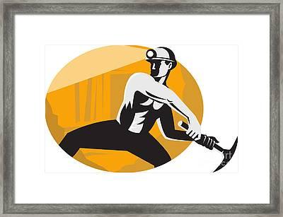 Coal Miner With Pick Ax Striking Retro Framed Print by Aloysius Patrimonio