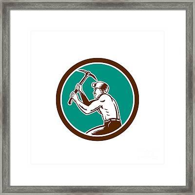 Coal Miner With Pick Axe Circle Retro Framed Print by Aloysius Patrimonio