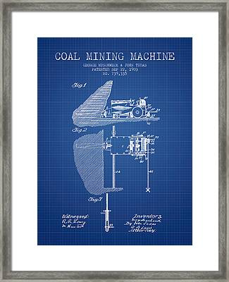Coal Mining Machine Patent From 1903- Blueprint Framed Print by Aged Pixel