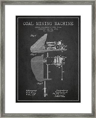 Coal Mining Machine Patent From 1903- Charcoal Framed Print by Aged Pixel