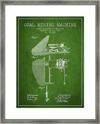 Coal Mining Machine Patent From 1903- Green Framed Print by Aged Pixel