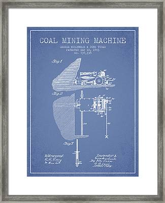Coal Mining Machine Patent From 1903- Light Blue Framed Print