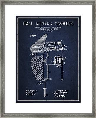 Coal Mining Machine Patent From 1903- Navy Blue Framed Print by Aged Pixel