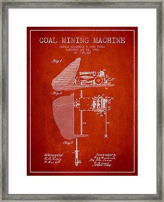 Coal Mining Machine Patent From 1903- Red Framed Print by Aged Pixel