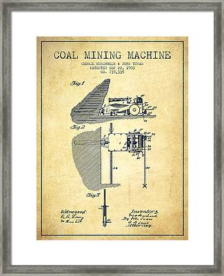 Coal Mining Machine Patent From 1903- Vintage Framed Print