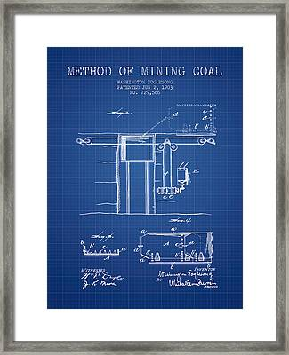 Coal Mining Patent From 1903- Blueprint Framed Print by Aged Pixel