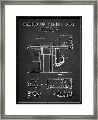 Coal Mining Patent From 1903- Charcoal Framed Print by Aged Pixel