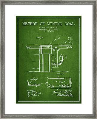 Coal Mining Patent From 1903- Green Framed Print by Aged Pixel