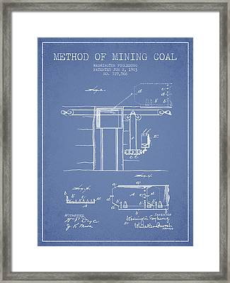 Coal Mining Patent From 1903- Light Blue Framed Print by Aged Pixel