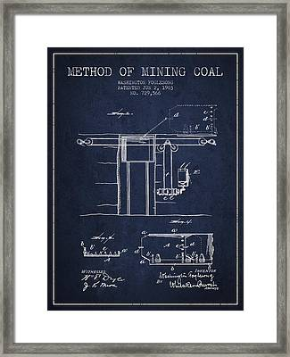 Coal Mining Patent From 1903- Navy Blue Framed Print by Aged Pixel