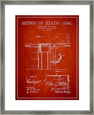 Coal Mining Patent From 1903- Red Framed Print by Aged Pixel
