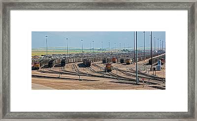 Coal Trains In Nebraska Rail Yard Framed Print by Jim West
