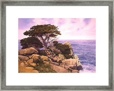 Framed Print featuring the painting Coast At Lobos by Tom Wooldridge