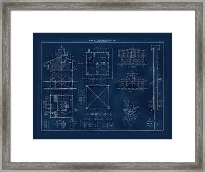 Coast Guard Drawing Of A Screw Pile Lighthouse Framed Print
