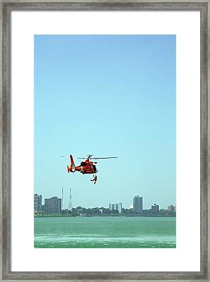 Coast Guard Water Rescue Demonstration Framed Print by Jim West