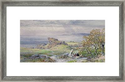 Coast Scene With Children In The Foreground, 19th Century Framed Print