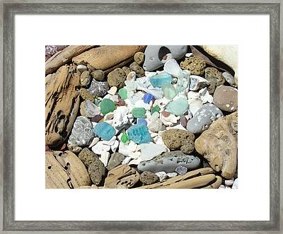 Coast Seaglass Art Prints Shells Fossils Driftwood Framed Print by Baslee Troutman