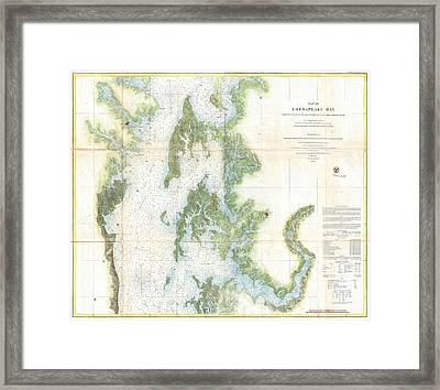 Coast Survey Chart Or Map Of The Chesapeake Bay Framed Print