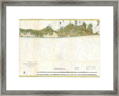 Coast Survey Map Of Eastern Long Island Hamptons Amagansett Framed Print by Paul Fearn