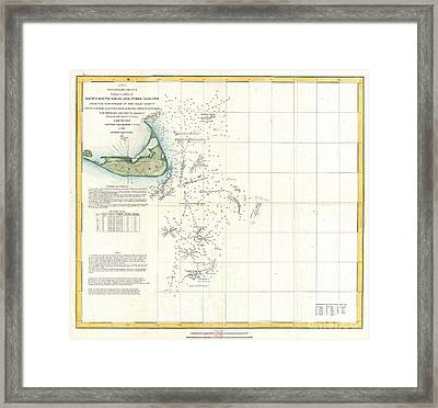 Coast Survey Map Of Nantucket And The Davis Shoals Framed Print by Paul Fearn