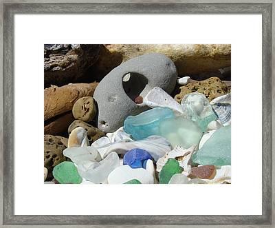 Coastal Beach Art Prints Blue Seaglass Fossils Shells Framed Print by Baslee Troutman