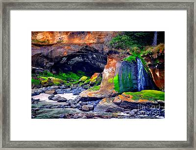 Coastal Cave And Waterfall Framed Print by Mandy Judson
