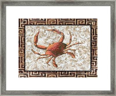 Coastal Crab Decorative Painting Greek Border Design By Madart Studios Framed Print by Megan Duncanson