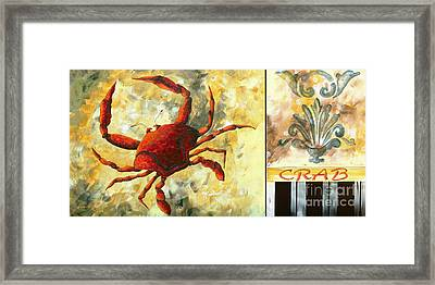 Coastal Crab Decorative Painting Original Art Coastal Luxe Crab By Madart Framed Print by Megan Duncanson