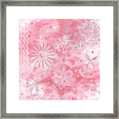 Coastal Decorative Pink Peach Floral Chevron Pattern Art Pink Whimsy By Madart Framed Print by Megan Duncanson