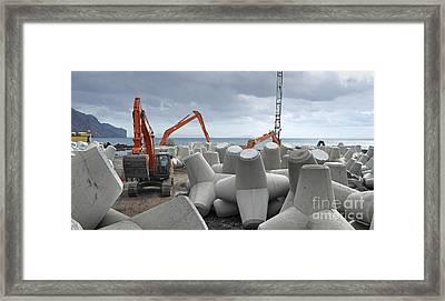 Coastal Defence Construction, Portugal Framed Print