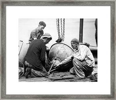 Coastal Defense Mines Framed Print by Underwood Archives
