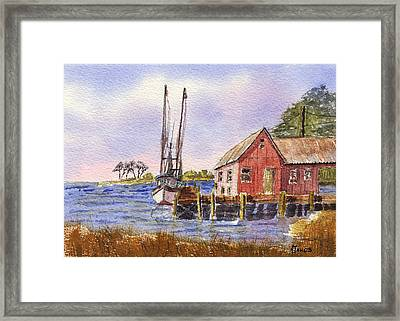 Shrimp Boat - Boat House - Coastal Dock Framed Print by Barry Jones