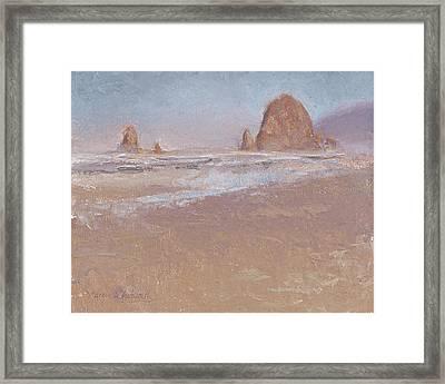 Coastal Escape  Cannon Beach Oregon And Haystack Rock  Framed Print by Karen Whitworth