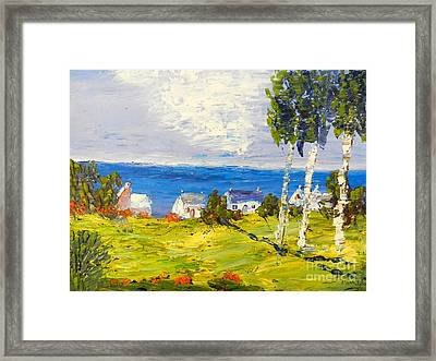 Framed Print featuring the painting Coastal Fishing Village by Pamela  Meredith