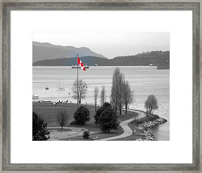 Coastal Canadian Flag Framed Print by Brian Chase
