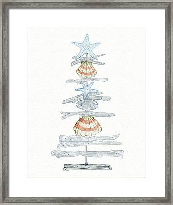 Coastal Holiday Tree I Red Framed Print by Kathleen Parr Mckenna