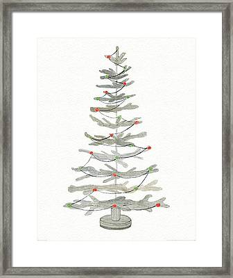 Coastal Holiday Tree II Red Framed Print by Kathleen Parr Mckenna