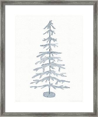 Coastal Holiday Tree Iv Red Framed Print by Kathleen Parr Mckenna